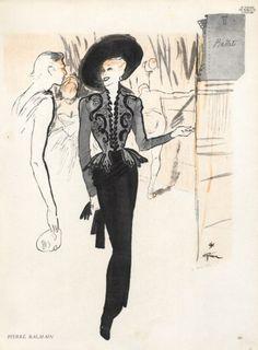 Pierre Balmain 1946 René Gruau Fashion Illustration Evening Gown