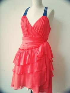 Coral Wrap Dress With Ruffles And Denim Straps