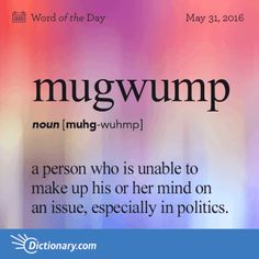 """Word for Today: Mugwump (n), A person who is unable to make up his or her mind on an issue, especially in politics. I remember being told by my parents that this was a """"swear word"""". Unusual Words, Weird Words, Rare Words, Powerful Words, Cool Words, Fancy Words, Big Words, Words To Use, Pretty Words"""