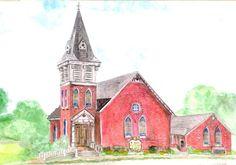 Watercolor Print of a Church by ValerieNusbaumAandD