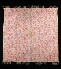 """Shawl Date: ca. 1850 Culture: British Medium: wool """"This is an elegant example of a European adaptation of the boteh motif. The many forms it takes on this shawl are indicative of the flexibility of this ancient pattern.""""-The Met"""