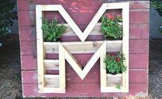 plantador monograma, recipiente jardinagem, jardinagem, como a, projetos de carpintaria