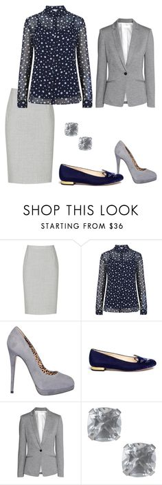 A fashion look from January 2016 featuring long sleeve tops, grey blazer and woolen skirt. Browse and shop related looks. Fashion Women, Women's Fashion, Reiss, Charlotte Olympia, Office Wear, Long Sleeve Tops, Jewel, Women's Clothing, Fashion Looks