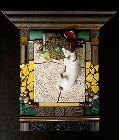 carolyn machado, artist / mosaics portfolio-love how the artist used picture frame molding for the top