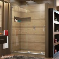 Who knew Loews had AFFORDABLE frameless glass shower doors now?... DreamLine Mirage-X Frameless Chrome Sliding Shower Door