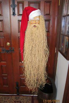 Vintage Paper Mache Santa Face Head Mask Christmas Decor