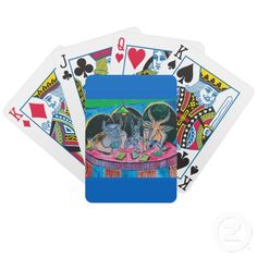 Antelope, Yak, and Llama Playing Cards Painting variation