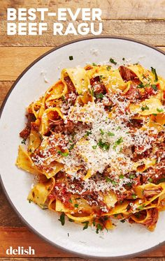 Our Best-Ever Beef Ragu Will Make Winter A Little More BearableDelish Easy Pasta Recipes, Beef Recipes, Dinner Recipes, Cooking Recipes, Healthy Recipes, Cooking Tips, Dinner Ideas, Recipies, Beef