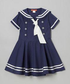 Look at this #zulilyfind! Navy Nautical Dress - Toddler & Girls #zulilyfinds