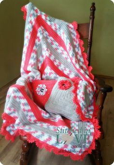 Baby Afghan and Pillow Set by StitchedInLove4U on Etsy
