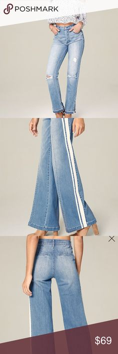 70% off New Bebe wide leg jeans Retail :$119. Brand new w tags. No returns. Stretchy. bebe Jeans Flare & Wide Leg