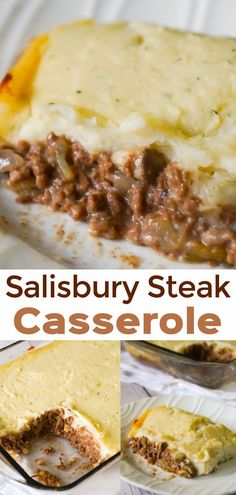 Salisbury Steak Casserole is an easy casserole loaded with ground beef, onions, . - Salisbury Steak Casserole is an easy casserole loaded with ground beef, onions, gravy and mushrooms - Easy Casserole Recipes, Beef Casserole, Casserole Dishes, Salisbury Steak Casserole Recipe, Vegan Recipes Easy, Cooking Recipes, Lunch Recipes, Pasta Recipes, Crockpot Recipes