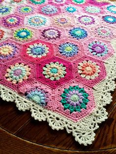 Dainty lace floral hexagonal afghan