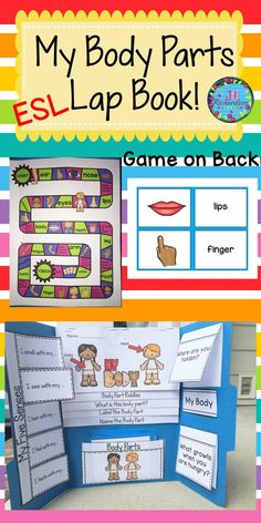 "ESL Help make your English Language Learner's transition into your classroom easier by learning Body Parts vocabulary! This resource can be used for making a lap book or as an interactive notebook! Includes: Cover Flip book of ""My Body"" Flap book of ""My Five Senses"" 22 body parts vocabulary and pictures Flaps for 2 questions Board game"
