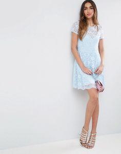 7a5fd70ac6 ASOS Lace Skater Mini T-Shirt Dress Short Shirt Dress