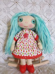 Eco Friendly Rag Doll. Handmade Cotton Doll. Cotton Doll.   Etsy Dolls For Sale, Cotton Thread, Flower Making, Doll Clothes, Harajuku, Craft Supplies, Eco Friendly, Textiles, Trending Outfits