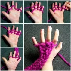 指編みは、指に毛糸を順番にかけることで編まれていきます。順番を覚えてしまえば、簡単にさくさく編めます。