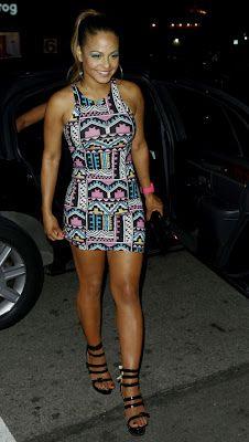 Christina Milian in Zoe Bodycon Dress in Aztec Print