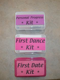 Birthday kits for when the girls turn 12,14,16... Don't know about everything in them or how they word things but good idea