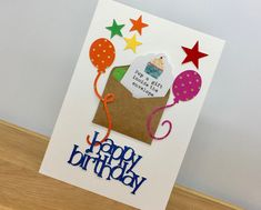 With a handmade envelope to pop a fiver in or a gift card Birthday Gift Cards, Personalized Birthday Cards, Happy Birthday Gifts, Handmade Birthday Cards, Greeting Cards Handmade, Handmade Envelopes, Pop, Unique, Popular
