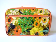 Color of the Week: TANGERINE Let's hit the road with this fun lovin' vintage suitcase! From Jenny.