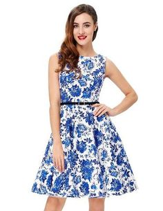 Women Summer Dress  Floral Retro Vintage 50s 60s Casual Party Dresses - ESKinchlow