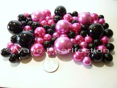 Valentine 80 Jumbo & Assorted Sizes Hot Pink Pearls/Fuchsia Pearls & Black Pearls Vase Fillers Value Pack - Must order the Transparent Water Gels (Sold Separately) if you want the Pearls to float...