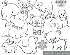Arctic Animals - Digital Stamps - Clipart