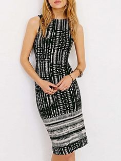 Ladylike Boat Neck Backless  Printed Bodycon-dress Bodycon Dresses from fashionmia.com