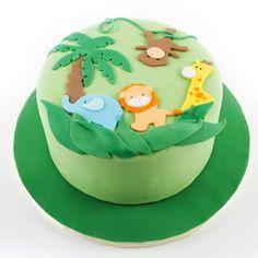 one layer jungle themed baby cake | Jungle Animal Cake