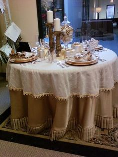 Beautiful tablescape created by Frew Enterprises with Fabricut fabric and trimmings.