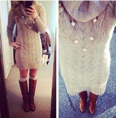 Preppy Fashion Sweater Dress