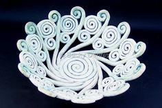 """Hand rolled clay coils carefully joined together to form an intricate, decorative BOWL which is also functional.The message on the bottom of the piece says """"The Cosmic Web weaves our lives together as ONE."""" This is part of my personal collection, however I am willing to recreate similar piece. (Contemporary Ceramics, Stoneware, Decorative)"""