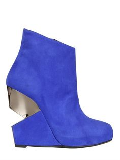 CHARLINE DE LUCA - 120MM SUEDE WEDGED BOOTS - LUISAVIAROMA - LUXURY SHOPPING WORLDWIDE SHIPPING - FLORENCE