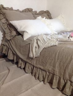 shabby chic pre washed 100% natural flax linen bedding sheet bed