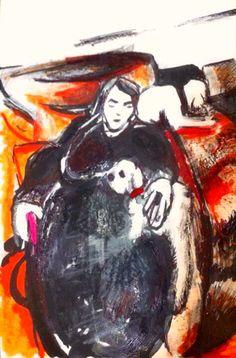"'Mummy Pammie.' Mixed Media On Card. 6x4"" Inch. #RosannaJacksonWright #Art #Drawing #Pammie #Dogs #Pets #Mum #Abstract #Figurative #York #England #NYC #USA #Genoa #Italy #Mexico"