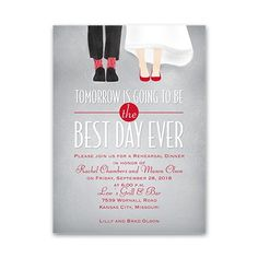 Best Day Ever! Adorable rehearsal dinner invitation from www.invitationsbydawn.com