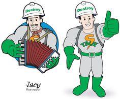 Criação de mascote para empresa Destroy - Belo Horizonte - MG - - Feita em Adobe Illustrator