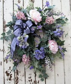 Pink and Lavender Silk Floral Spring Front Door Wreath/Spring Wreath/Spring Decor/Summer Wreath/Summer Decor/Summer Wreath/Ready to Ship Spring Front Door Wreaths, Diy Spring Wreath, Lavender Wreath, 3d Christmas, Silk Flower Arrangements, Easter Wreaths, Silk Flowers, Making Ideas, Home Decor