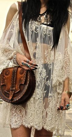 Bohemian Style #vintage I found had a purse like this in a thrift store in high school and bought it! Actually,they had several. I would love to find some nowadays! Bag, Lace Dresses