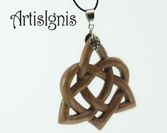 Celtic Triquetra With Heart Knot Alder Wood Pendant by ArtisIgnis