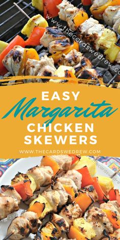 Make these easy and delicious Grilled Margarita Chicken Kabobs on the grill with yummy and tender chicken, red and yellow peppers, and chunks of pineapple!