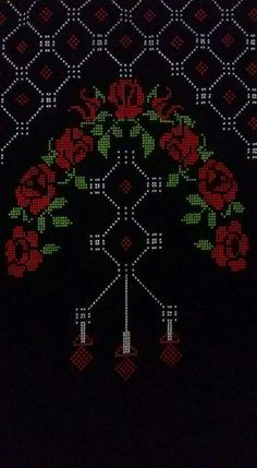This Pin was discovered by HUZ Cross Stitching, Cross Stitch Embroidery, Hand Embroidery, Palestinian Embroidery, Prayer Rug, Cross Stitch Flowers, Christmas Cross, Filet Crochet, Knitting Patterns