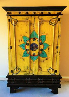 Mexican furniture - rustic and cozy! Beautiful Hand Painted Mexican Cabinet by VagabondStudioSW on Etsy Mexican Furniture, Funky Painted Furniture, Refurbished Furniture, Paint Furniture, Furniture Projects, Furniture Makeover, Cool Furniture, Furniture Design, Etsy Furniture