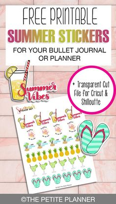 Free Printable Summer Stickers for Your Planner or Bullet Journal + Free Cut File for Cricut Bullet Journal Vidéo, Bullet Journal Printables, Bullet Journal How To Start A, Bullet Journal Layout, Bullet Journal Inspiration, Journal Stickers, Printable Planner Stickers, Free Printables, Calendar Stickers