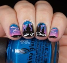The Digital Dozen does Brands - Day 4: Disney - Wondrously Polished Fancy Nails, Love Nails, How To Do Nails, Pretty Nails, Disney Nail Designs, Nail Polish Designs, Cute Nail Designs, Pretty Designs, Disney Nails