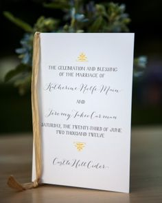 "See the ""Ceremony Programs"" in our  gallery"