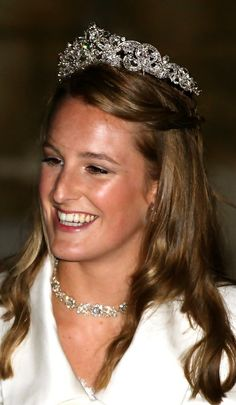 Lady Katherine Valentine, daughter of the 12th Duke of Northumberland, wearing the Small Northumberland Tiara, United Kingdom (diamonds).