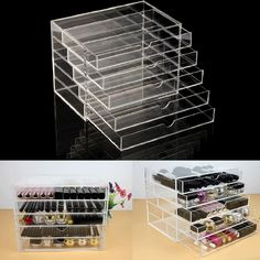 1x clear acrylic cosmetic organizer storage 5 drawer case box. Can be used together or as individual unit,Its clear, elegant and compact design. Made of sturdy, durable acrylic and beautifully designed to display on versatile, practical and also look luxurious.   eBay!