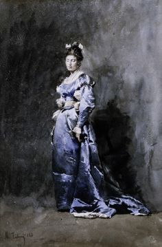 A Young Woman in a Blue Dress Mariano José Maria Fortuny y Marsal (Spain, Europe), 1866